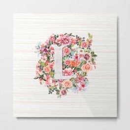 Initial Letter L Watercolor Flower Metal Print
