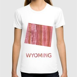 Wyoming map outline Indian red stained wash drawing T-shirt