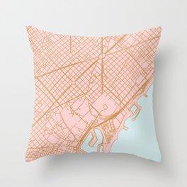 Barcelona map, Spain Throw Pillow