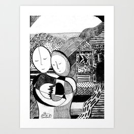 Healing Black and White Drawing: 'Love' Art Print