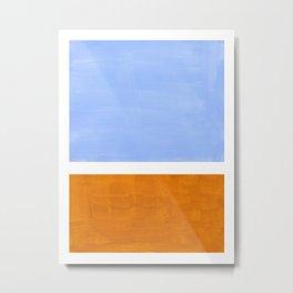 Pastel Royal Blue Yellow ochre Mid Century Modern Abstract Minimalist Rothko Color Field Squares Metal Print
