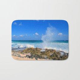 Cozumel teal water ocean crash wave water spout Bath Mat
