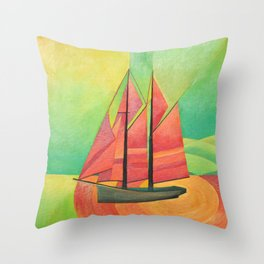Cubist Abstract Sailing Boat Throw Pillow