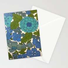 Retro floral sheet blues Stationery Cards