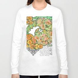Romance in Paris, Art Nouveau Floral Nostalgia Long Sleeve T-shirt