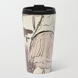 watercolor and ink sketch of Degas Little Dancer Travel Mug