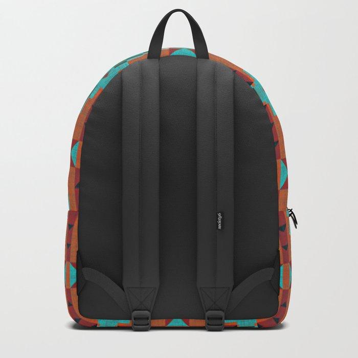 Orange Red Aqua Turquoise Teal Native Mosaic Pattern Backpack