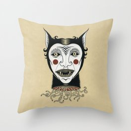Cat Head with Worms Throw Pillow