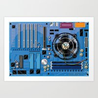 computer Art Prints featuring Computer Motherboard by Nick's Emporium Gallery