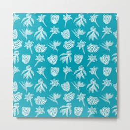 Retro Polynesian Tribal Geometric Floral Graphic Tattoo Metal Print