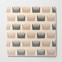 Mid Century Modern Abstract Flowers Beige Metal Print