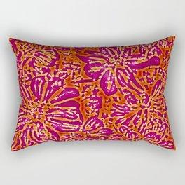 Marigold Lino Cut, Batik Red And Purple Rectangular Pillow