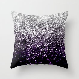 Dark Night Purple Black Silver Glitter #1 #shiny #decor #art #society6 Throw Pillow