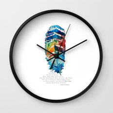 Colorful Feather Art -  Blessing - By Sharon Cummings Wall Clock