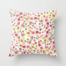 Rustic pink red yellow botanical roses flowers floral pattern Throw Pillow