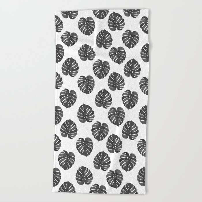 Monstera house plant leaf black and white painting  hipster indoor house plant tropical garden   Beach Towel