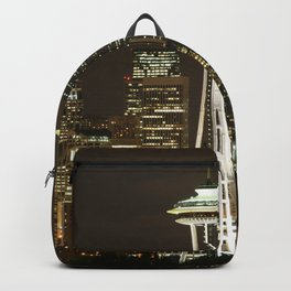 Seattle Space Needle at Night - City Lights Backpack