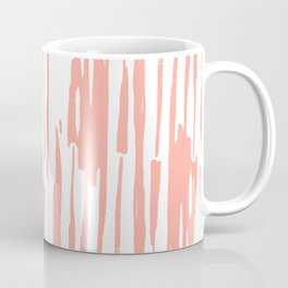 Pretty Pink Brush Stripes Vertical Coffee Mug