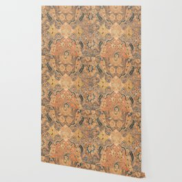 Persian Motif III // 17th Century Ornate Rose Gold Silver Royal Blue Yellow Flowery Accent Rug Patte Wallpaper