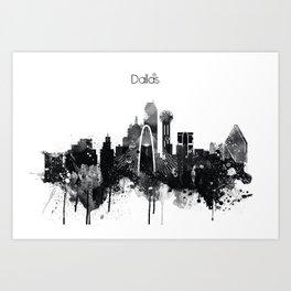 Dallas TexasBlack White Skyline Poster Art Print