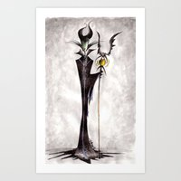 maleficent Art Prints featuring Maleficent by Jena Sinclair