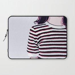 Minimalist Girl in Striped Shirt Digital Vector Illustration Laptop Sleeve