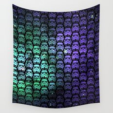 Galactic Empire Stormtroopers Over Purple and Green Cosmos Wall Tapestry