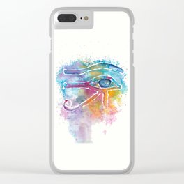 Eye of Horus Watercolor Illustration Clear iPhone Case