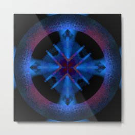 Spinning Wheel Hubcap in Blue Metal Print