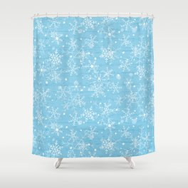 Snowflakes On Blue Wood Shower Curtain