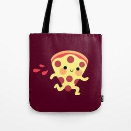Cute running pizza slice Tote Bag