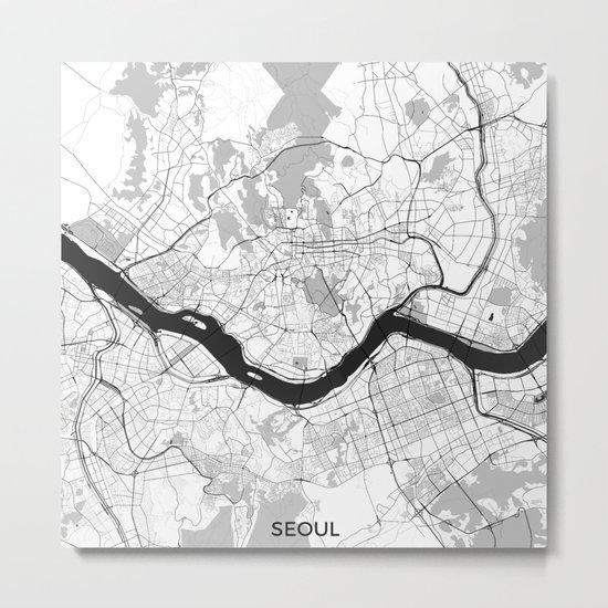 Seoul Map Gray Metal Print
