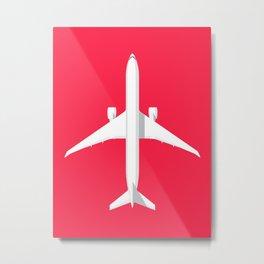 777 Passenger Jet Airliner - Crimson Metal Print