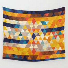 Geometric Triangle - Ethnic Inspired Pattern - Orange, Blue Wall Tapestry