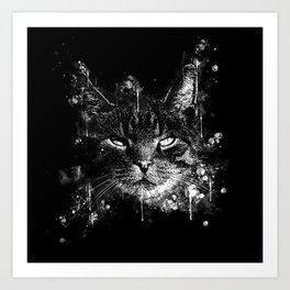 cat eyes splatter watercolor black white Art Print