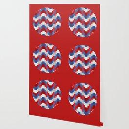 Red White Blue Zig Zag Design Wallpaper