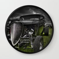 ford Wall Clocks featuring Vintage Ford by Nicola Lee