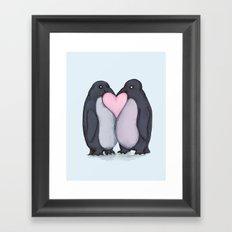 Penguin Kisses  Framed Art Print