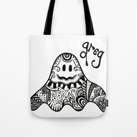 greg guillemin Tote Bags featuring Greg the Ghost by Wealie