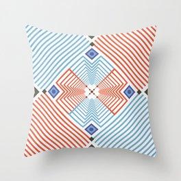 Blue red stripes Throw Pillow