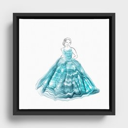 Girl In Teal Alcohol Ink Ball Gown Framed Canvas