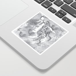 Butterflies in a gray abstract landscape Sticker