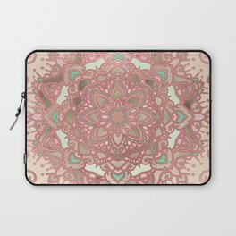 Rose gold cyan mandala Laptop Sleeve