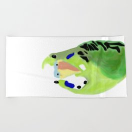 Green Budgie Parakeet bird Beach Towel