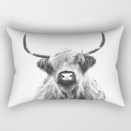 Black and White Highland Cow Portrait Rectangular Pillow