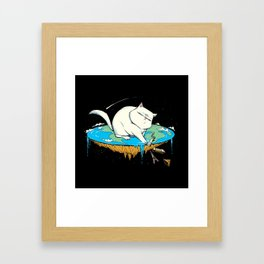Flat Earth Cat Framed Art Print