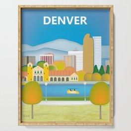 Denver, Colorado - Skyline Illustration by Loose Petals Serving Tray