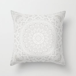 Mandala Soft Gray Throw Pillow
