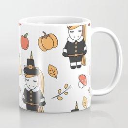 cartoon thanksgiving pattern with pilgrim unicorns, pumpkins, apples, pears, leaves and acorns Coffee Mug