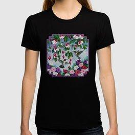 Hummingbirds in Fuchsia Flower Garden T-shirt